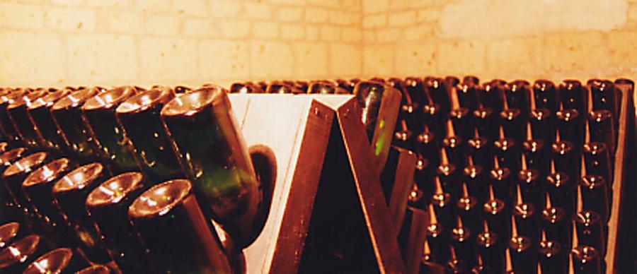 Agriturismo la Candina del Nonno | Il Sigillo - il nostro Fiano Spumante Metodo Classico - sulle pupitre in attesa del remuage e della 'sboccatura'