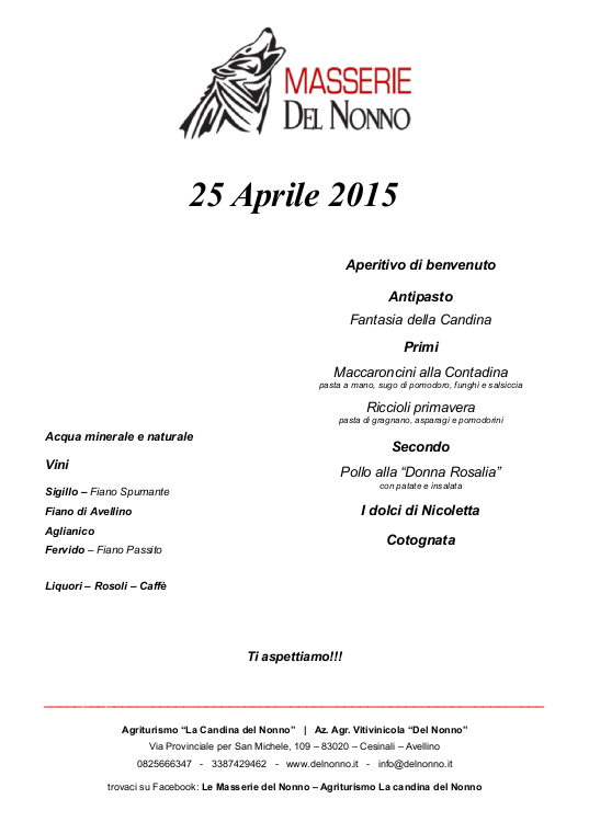 Menu 25 Aprile 2015 | Masserie del Nonno | www.delnonno.it