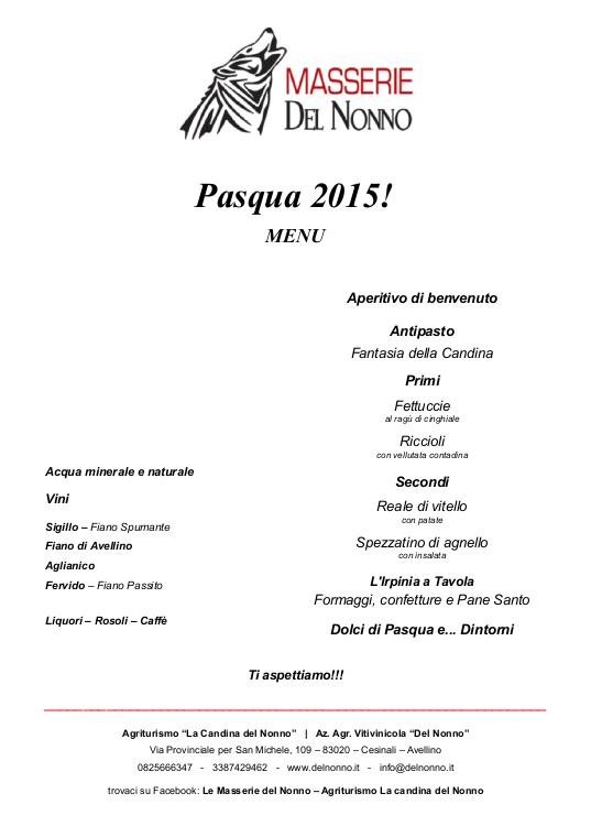 Menu di Pasquetta | Masserie del Nonno | www.delnonno.it